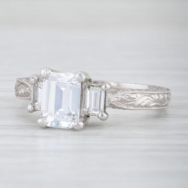 Tacori White Gold Platinum New Emerald Cut 3 Stone 18k Semi Mount 2199 Engagement Ring Tradesy