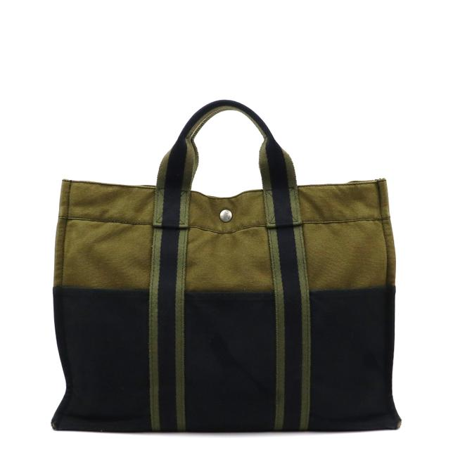 Hermès Fourre Tout Vintage Mm Army Green and Navy Blue Canvas Tote Hermès Fourre Tout Vintage Mm Army Green and Navy Blue Canvas Tote Image 1