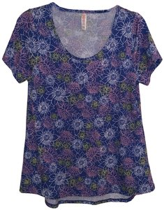 LuLaRoe Classic Classic Small T Shirt blue with floral