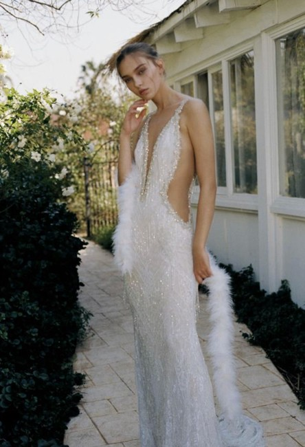 Item - White Gatsby Inspired Gown Sexy Wedding Dress Size 4 (S)