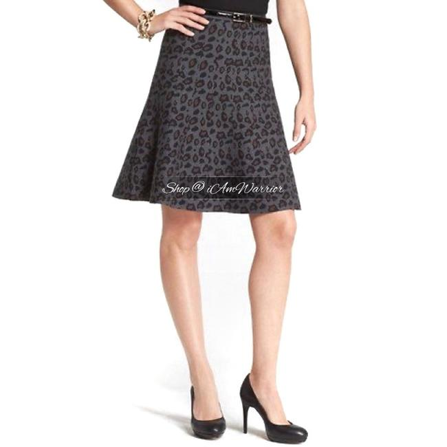 Item - Gray Black Brown Leopard Sweater Knit Flare Skirt Size 8 (M, 29, 30)
