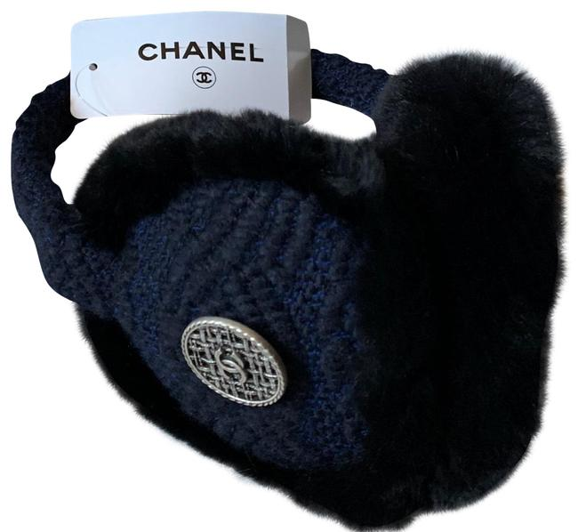 Chanel Rabbit Fur Tweed Cc Earmuffs Blue Black Hat Chanel Rabbit Fur Tweed Cc Earmuffs Blue Black Hat Image 1