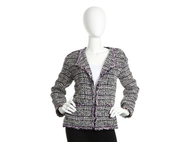 Item - Purple And Black Open Front Tweed 07c Jacket Size 8 (M)