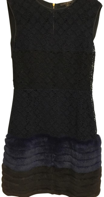 Item - Navy And Black Logo Embroidered Eyelet with Rabbit Fur Mid-length Cocktail Dress Size 2 (XS)
