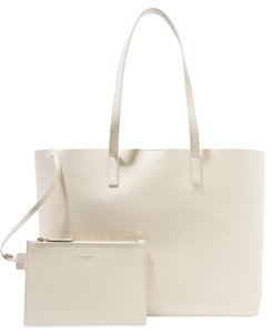 Saint Laurent Monogram Leather East West Shopping Tote in White