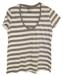 American Eagle Outfitters Striped T Shirt Gray