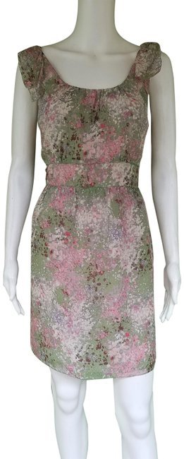 Item - Green Pink Caspia Silk Floral Mid-length Short Casual Dress Size 4 (S)