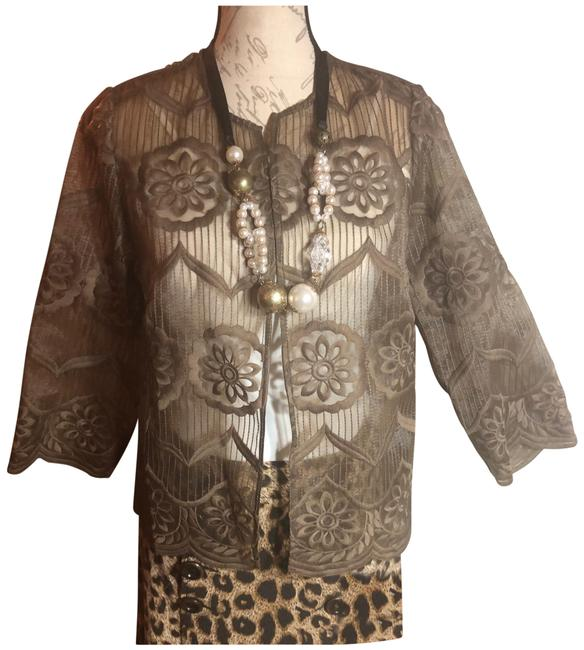 Item - Taupe 0-s-nwt-chico's Sheer Floral Embroidered Jacket Blazer Size 6 (S)