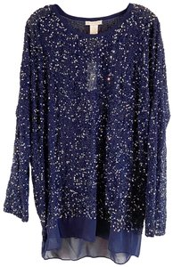 Gold Hawk Beaded Tunic Top Military Blue