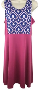 Tracy Negoshian short dress Blue, White & Pink Colorblock Sleeveless Geometric Short on Tradesy