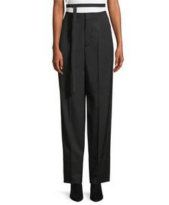 Helmut Lang Wool Pleated Belted Wide Relaxed Trouser Pants Black
