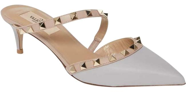 Item - Pastel Grey Rockstud Studded Asymmetric Strap Sandals Kitten Mules/Slides Size EU 38.5 (Approx. US 8.5) Regular (M, B)