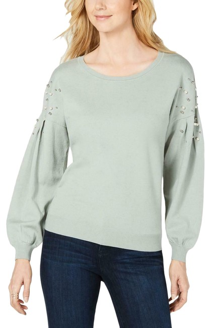 Item - Womens Pearl Embellished Heathered Antique Sage Sweater