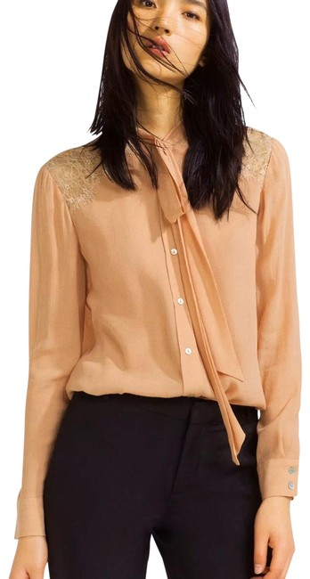 Item - Nude/Peach With Lace Blouse Size 8 (M)