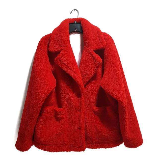 Item - Red Oversized Faux Jacket (Uk 34) Brown Coat Size 6 (S)