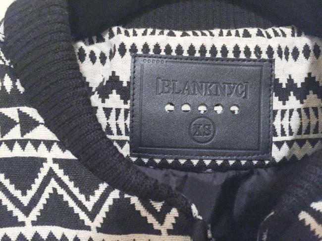 BlankNYC Baseball Cropped Vegan Vegan Leather Aztec Tribal Pattern Print Cusp Neiman Marcus Contemporary Black and White Jacket