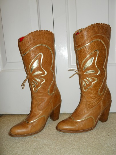 Attitude without limits Leather tan & gold Boots