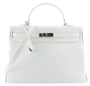 Hermes Leather Satchel in white