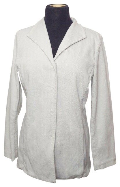 Item - White 5 Button Snap Italian Cotton Spandex Stretch Classic Textured Jacket Blazer Size 8 (M)