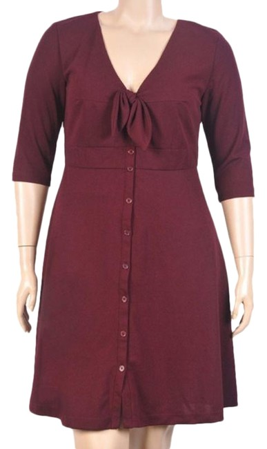 Item - Wine Button Front Fit & Flare Short Night Out Dress Size 16 (XL, Plus 0x)