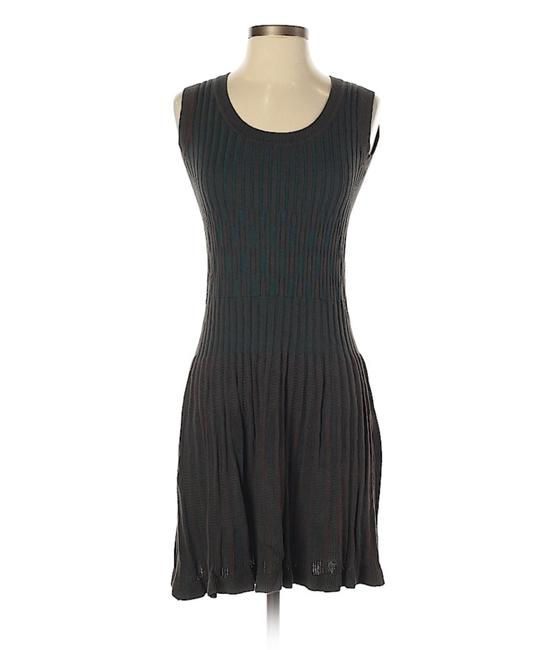 Item - Dark Green/Brown Sleeveless Fit and Flare Pleated Rib Knit Sweater Short Casual Dress Size 6 (S)