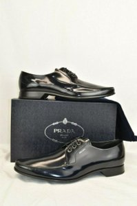 Prada Blue 2ec124 Dark Navy Polished Leather Lace Up Oxfords 10 Shoes