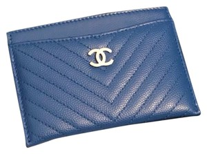 Chanel CHANEL Blue Chevron Card Holder