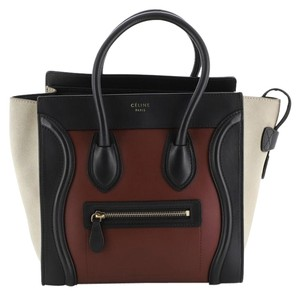 Céline Leather Tote in Black, Neutral, Red