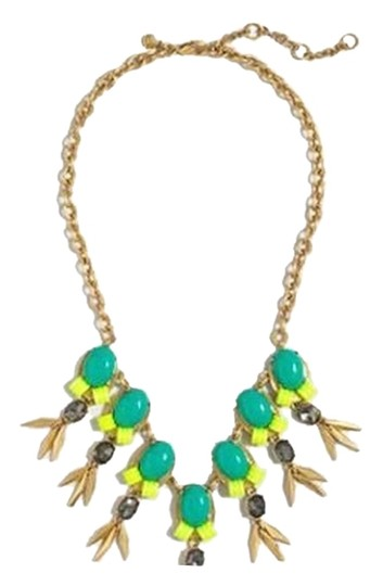 J.Crew J Crew Multi Color Green/Yellow Jeweled Statement Necklace w/pouch