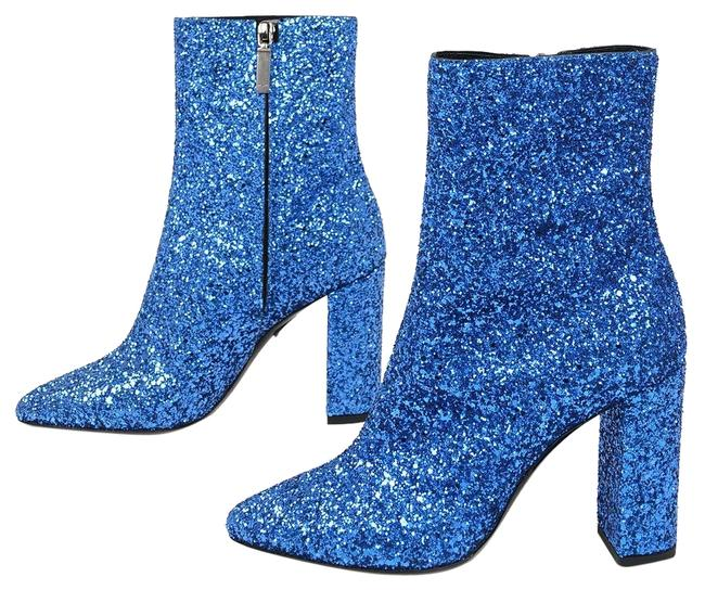Item - Irridicent Blue Made In Italy Glitter Boots/Booties Size EU 37.5 (Approx. US 7.5) Regular (M, B)