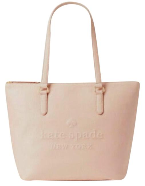 Item - Larchmont Avenue Logo Penny Pink/Beige Pebbled Leather Tote