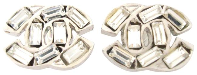 Item - Silver Cc Logo Baguette Crystal Very Simple Pierced Earrings