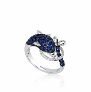 EFFY EFFE SAPPHIRE AND DIAMOND DOLPHIN RING IN 14K WHITE GOLD.