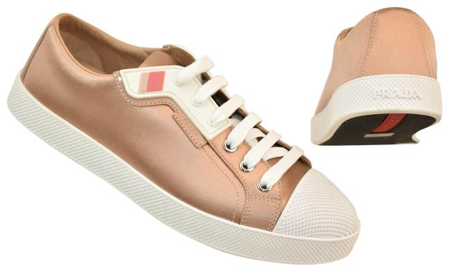 Item - Beige Nude Satin White Textured Rubber Cap Toe Logo Low Sneakers Size EU 39 (Approx. US 9) Regular (M, B)