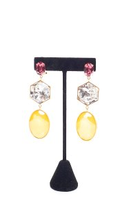 Shourouk SHOUROUK Magenta & Yellow Cascade Earrings