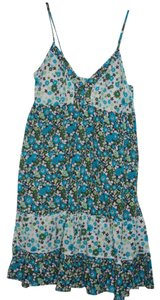 Red Camel short dress Blue/Green Flower Blue Green on Tradesy