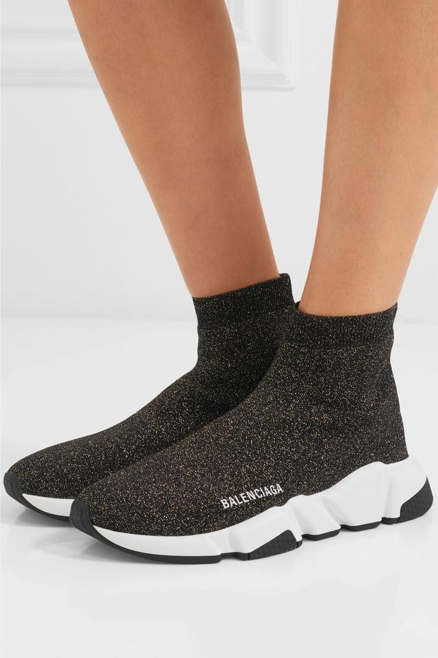 Balenciaga Black Speed Sock Trainer White Gold Lurex Knit Pull On Runner Sneakers Size EU 37 (Approx. US 7) Regular (M, B)