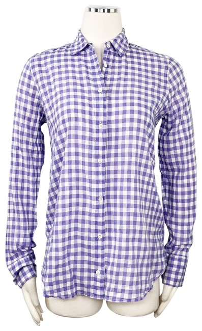 Item - Purple White Boy Check Plaid Gingham Blouse Button-down Top Size 4 (S)