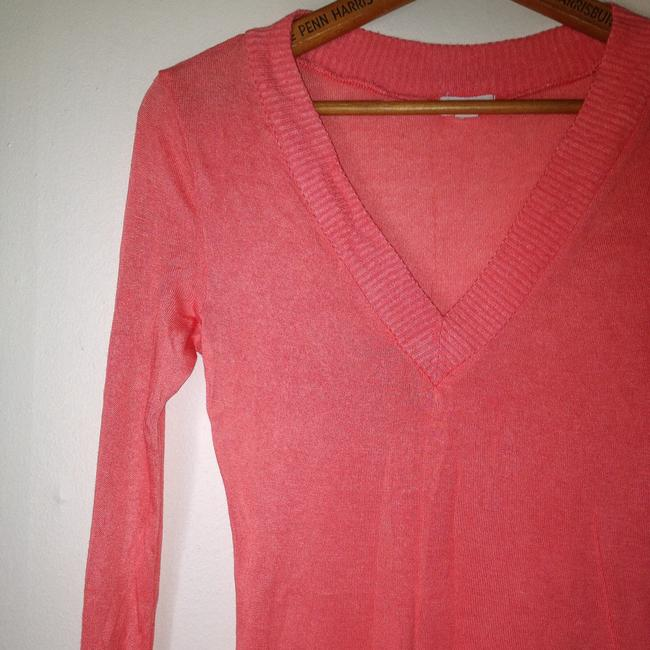 Zenana Outfitter Long Sleeve V Neck V Neck T Shirt Peach Pink