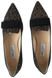 Jimmy Choo Leather Glitter Bronze Flats