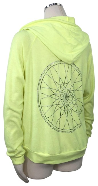 Item - Yellow Neon Florescent Full Zip Up Front Oversized Rhinestone M Activewear Outerwear Size 8 (M)