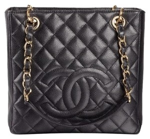 Chanel Petit Shopper Petite Shopping Pst Gst Tote in Black Gold