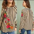 Anthropologie Brown & Black Akemi+ Kin Manuela Embroidered Striped Tunic Blouse Size Petite 2 (XS) Anthropologie Brown & Black Akemi+ Kin Manuela Embroidered Striped Tunic Blouse Size Petite 2 (XS) Image 5