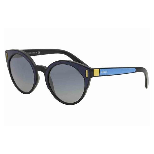Prada Black/Blue/Yellow Frame & Light Gray Gradient Lens Spr/03u Sui/3a0 Round Women's Sunglasses Prada Black/Blue/Yellow Frame & Light Gray Gradient Lens Spr/03u Sui/3a0 Round Women's Sunglasses Image 1