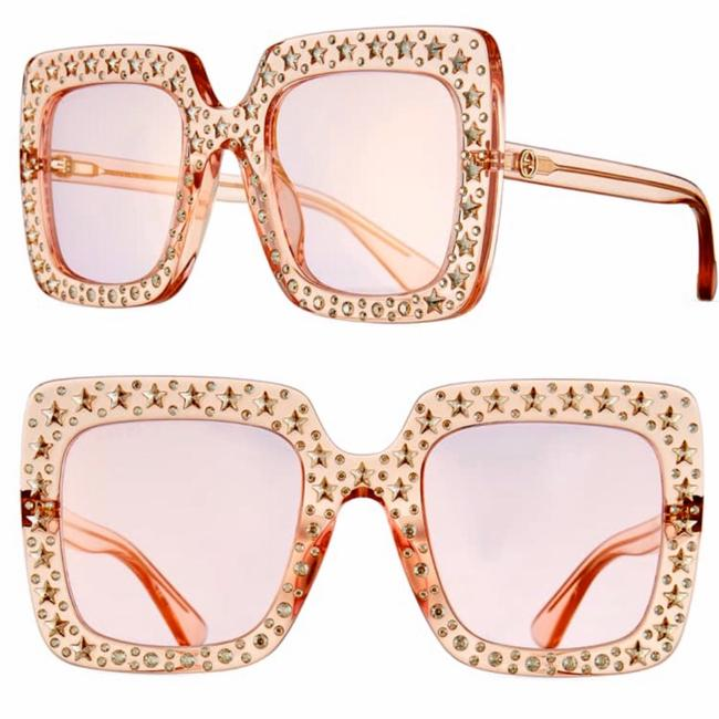 Gucci Transparent Pink Oversize Square Crystal Embellishment Sunglasses Gucci Transparent Pink Oversize Square Crystal Embellishment Sunglasses Image 1