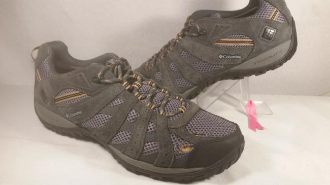 Item - Grey W/Gold Accents Men's Leather and Mesh Trail Lace-up Outdoor Walking 12m Shoes