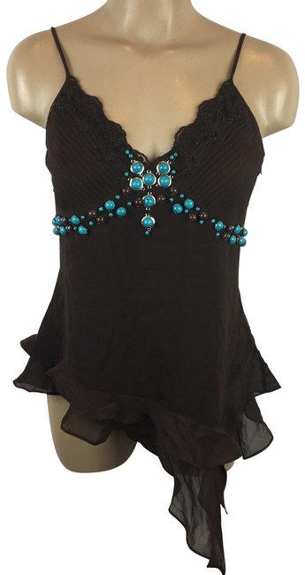 Item - Brown Stone Embellished Blouse Size 8 (M)