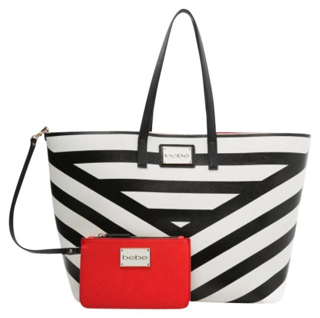 Item - Kiki Chevron Black White Faux Leather Tote