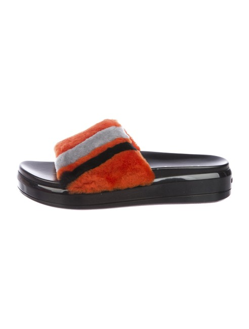Item - Orange Black Sheep Fur Platform Sandals Size EU 39 (Approx. US 9) Regular (M, B)