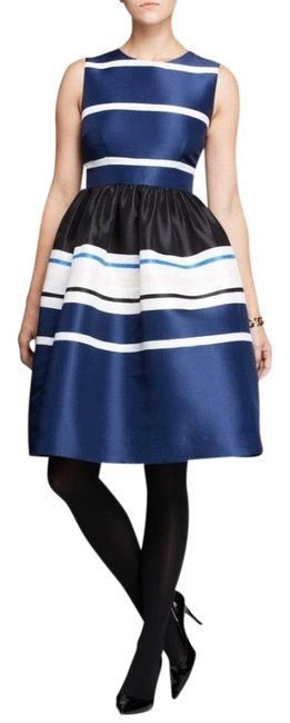 Item - Blue Cream White Holiday Striped Fit-and-flare Mid-length Formal Dress Size 2 (XS)